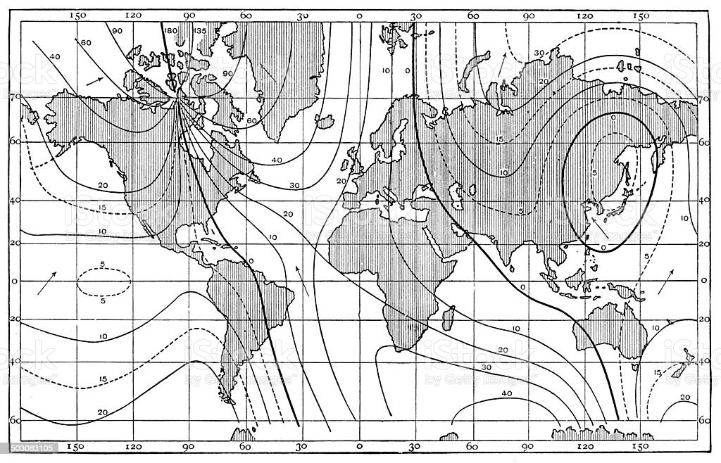 Antique map of lines of equal magnetic declination, 1885 vector art illustration