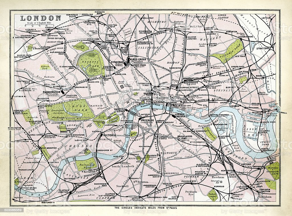 Antique map of London vector art illustration