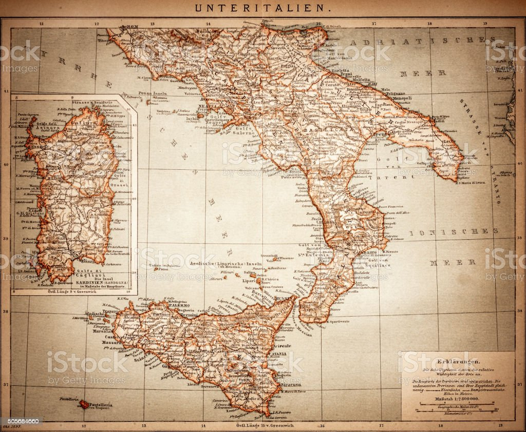 Antique Map of Lower Italy vector art illustration