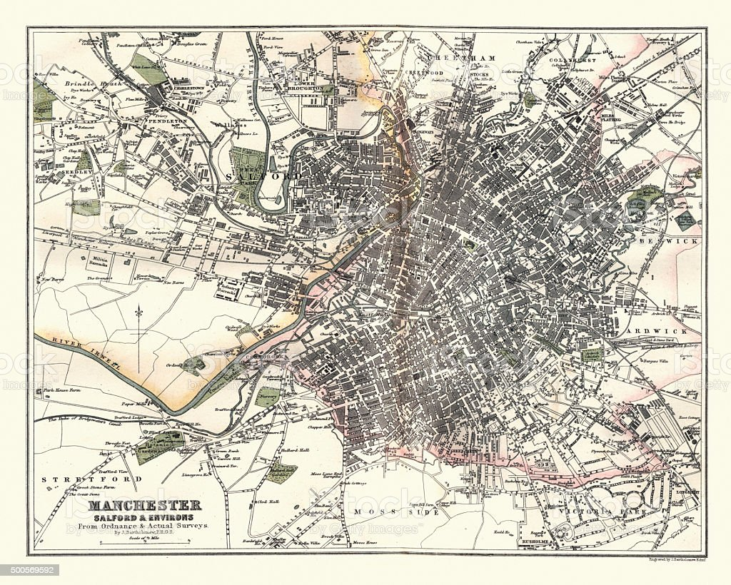 Antique Map of Manchester, Salfiord and Environs, England, 1880 vector art illustration