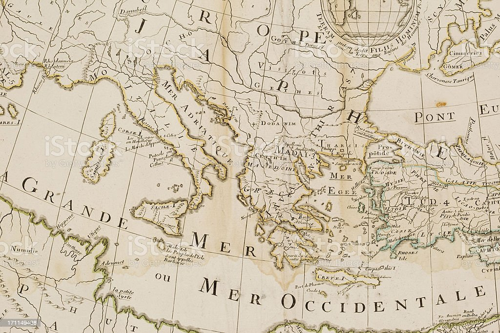 Antique map of Mediterranean Sea 1712 vector art illustration