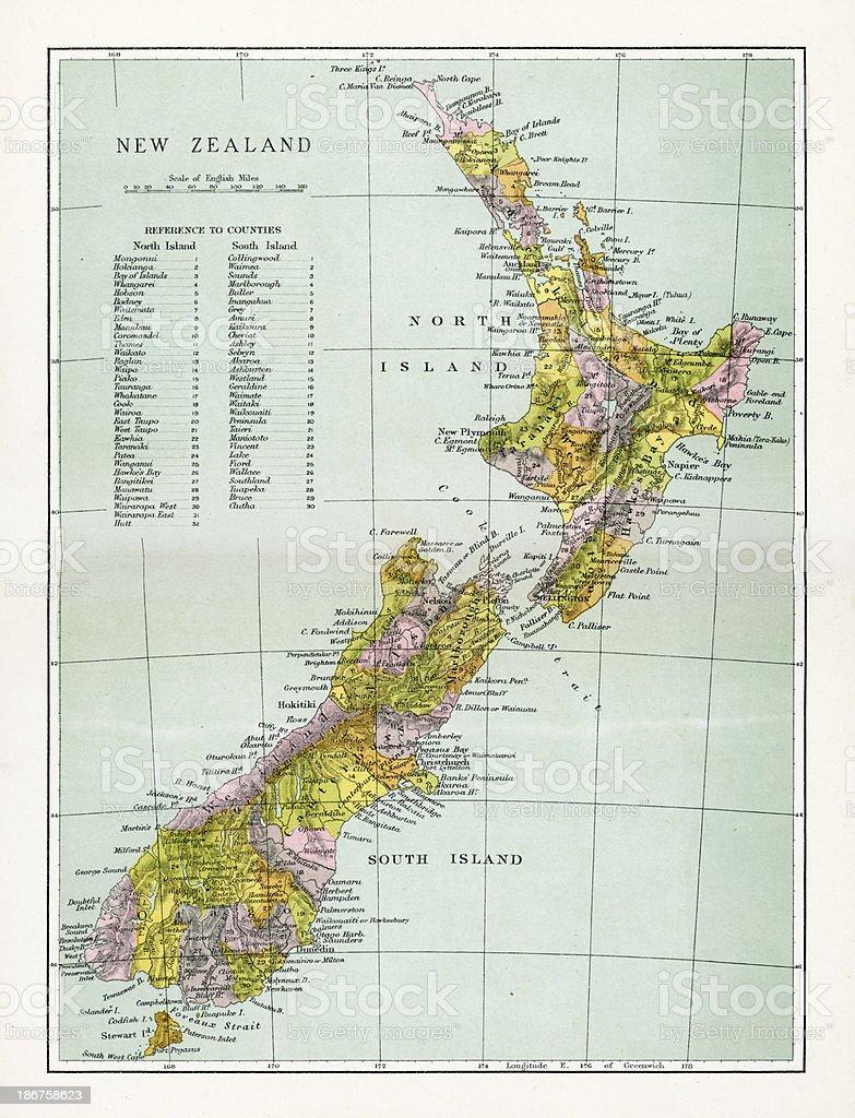 Antique Map of New Zealand vector art illustration
