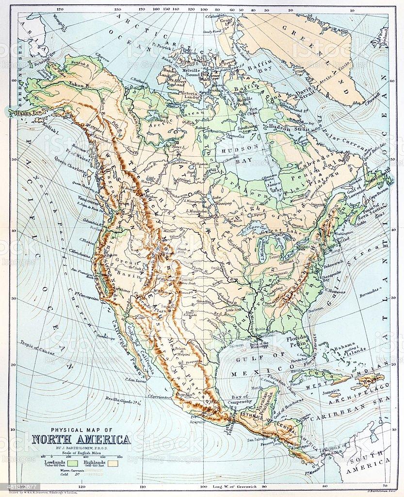 Antique map of North America vector art illustration