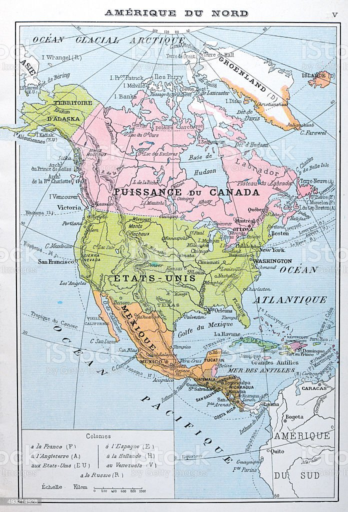 Antique map of North America (French) vector art illustration
