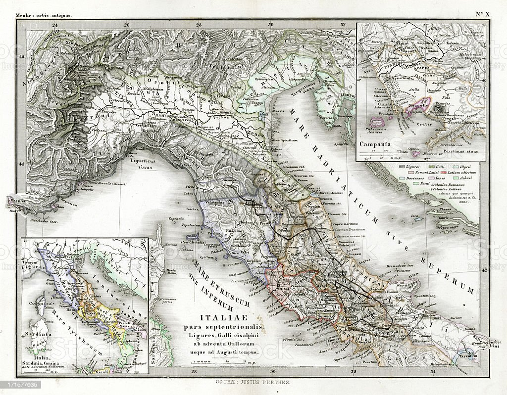 Antique Map of Northern Italy royalty-free stock vector art