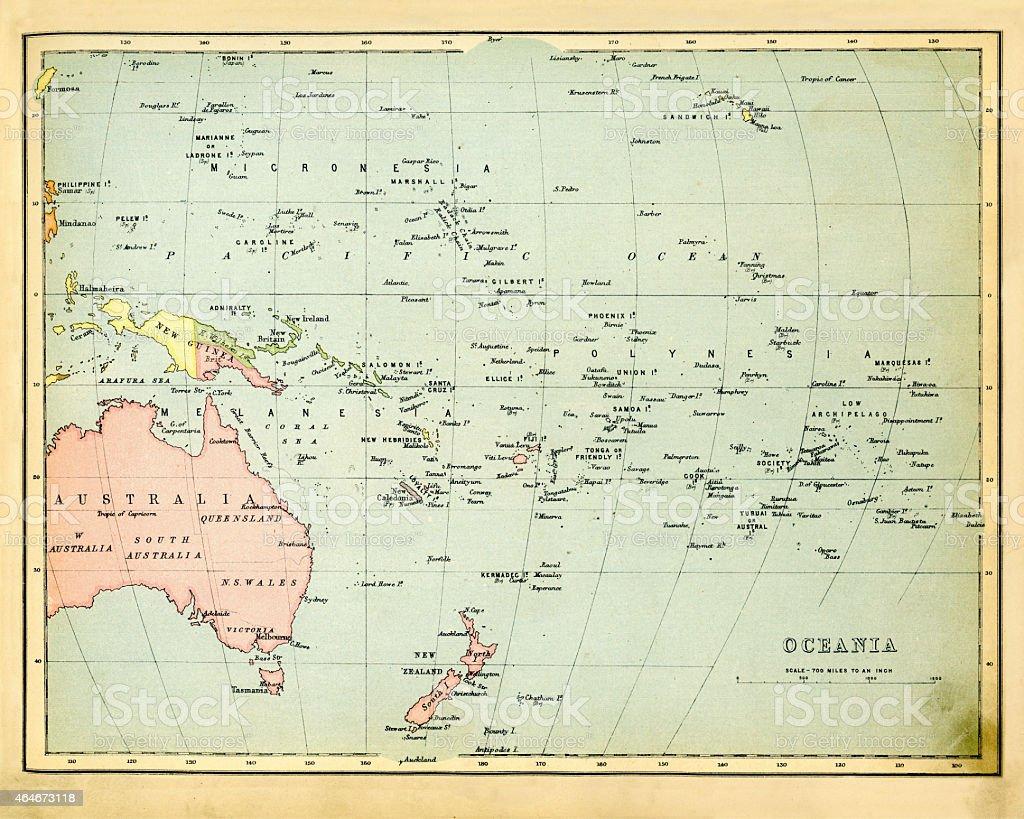 Antique Map of Oceania 1897 vector art illustration