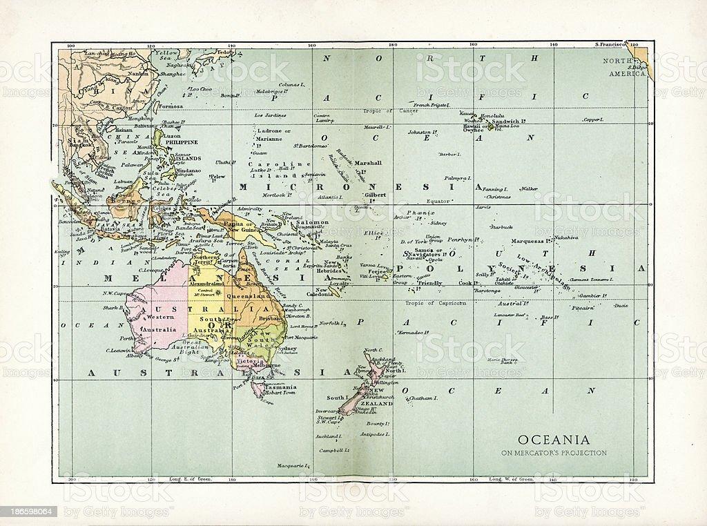 Antique Map of Oceania vector art illustration