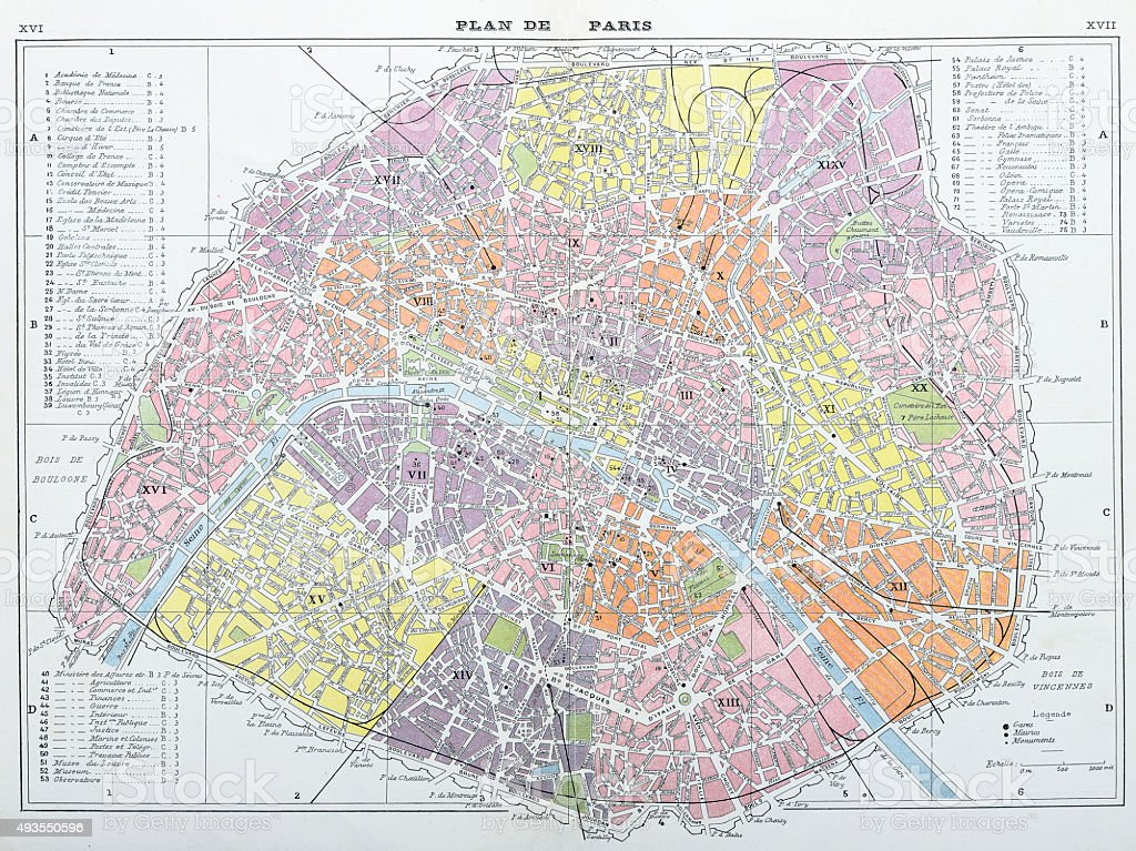 Antique map of Paris vector art illustration