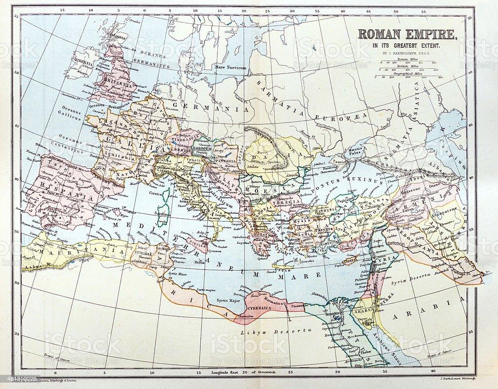 Antique map of Roman Empire vector art illustration