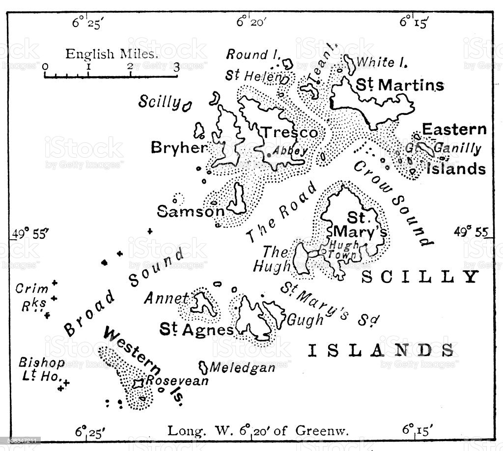 Antique map of Scilly Islands vector art illustration
