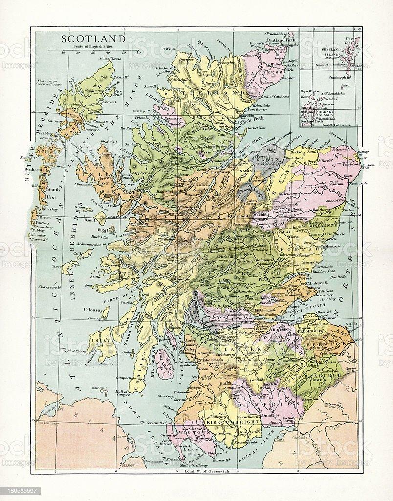 Antique Map of Scotland vector art illustration