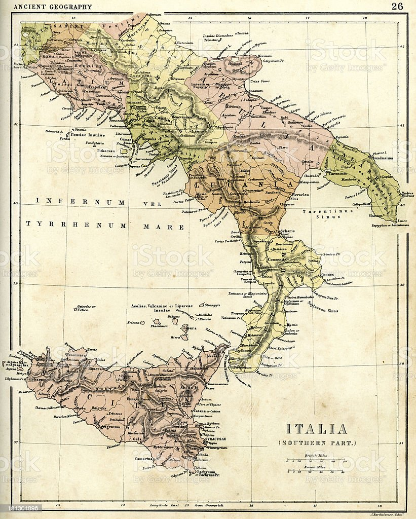 Antique map of Southern Italia royalty-free stock vector art