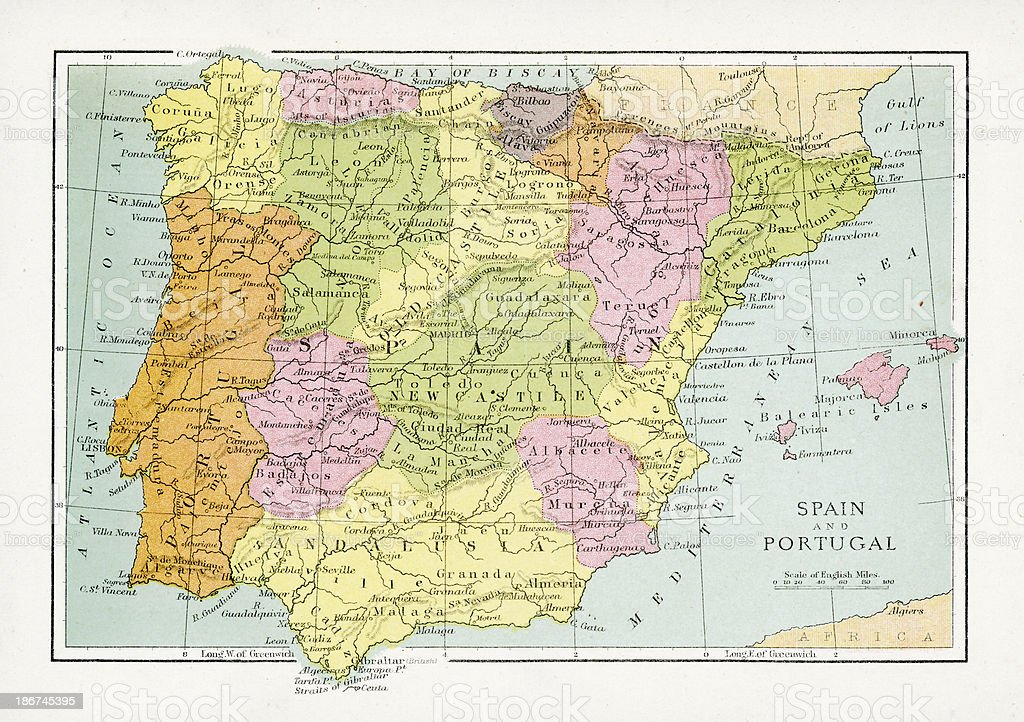Antique Map of Spain and Portugal stock photo