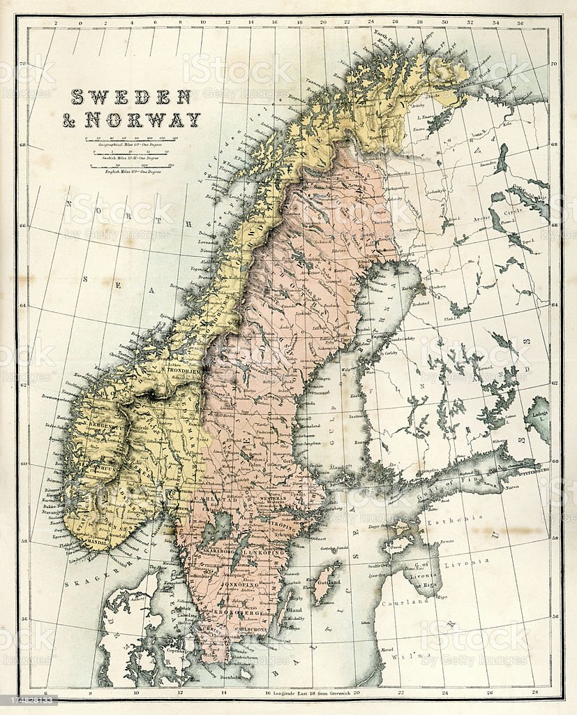 Antique Map of Sweden and Norway royalty-free stock vector art