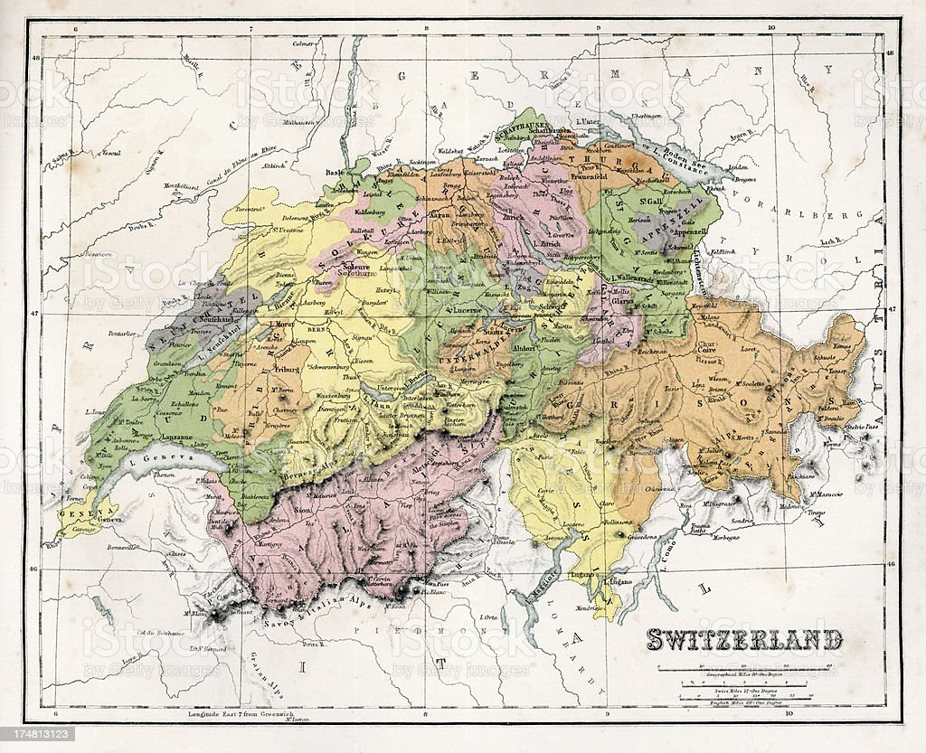 Antique Map of Switzerland royalty-free stock vector art