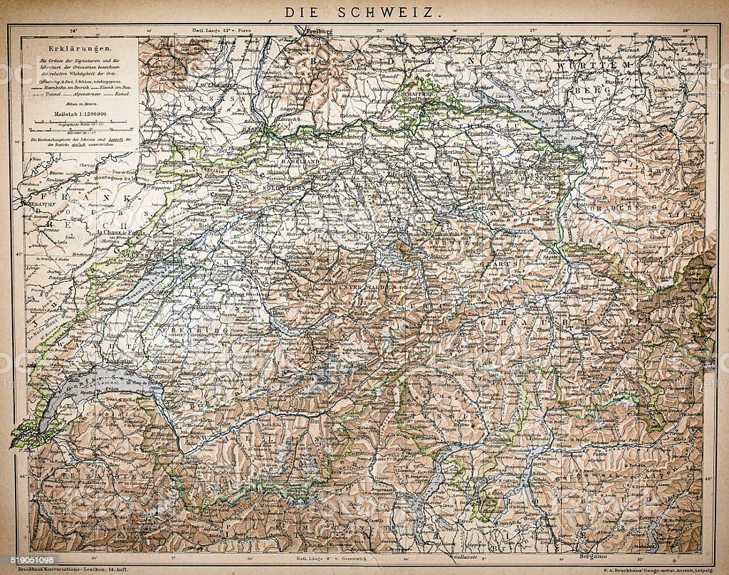 Antique Map of Switzerland vector art illustration