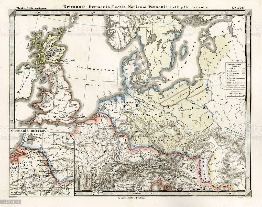 Antique Map of the Roman Empire vector art illustration