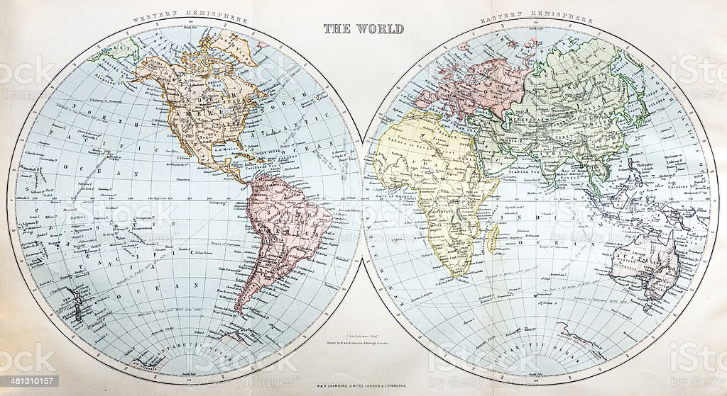 Antique map of the World vector art illustration