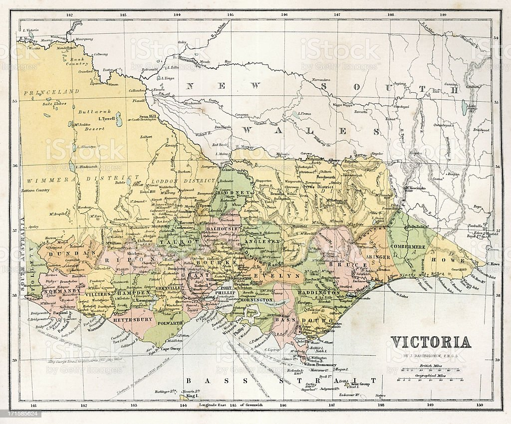 Antique  Map of Victoria, Australia royalty-free stock vector art