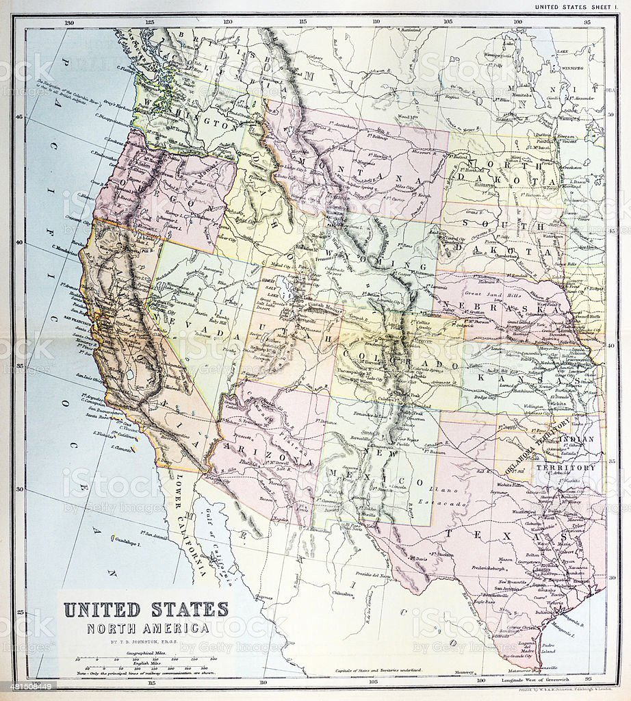 Antique Map Of Western United States Stock Vector Art - Map of west usa states