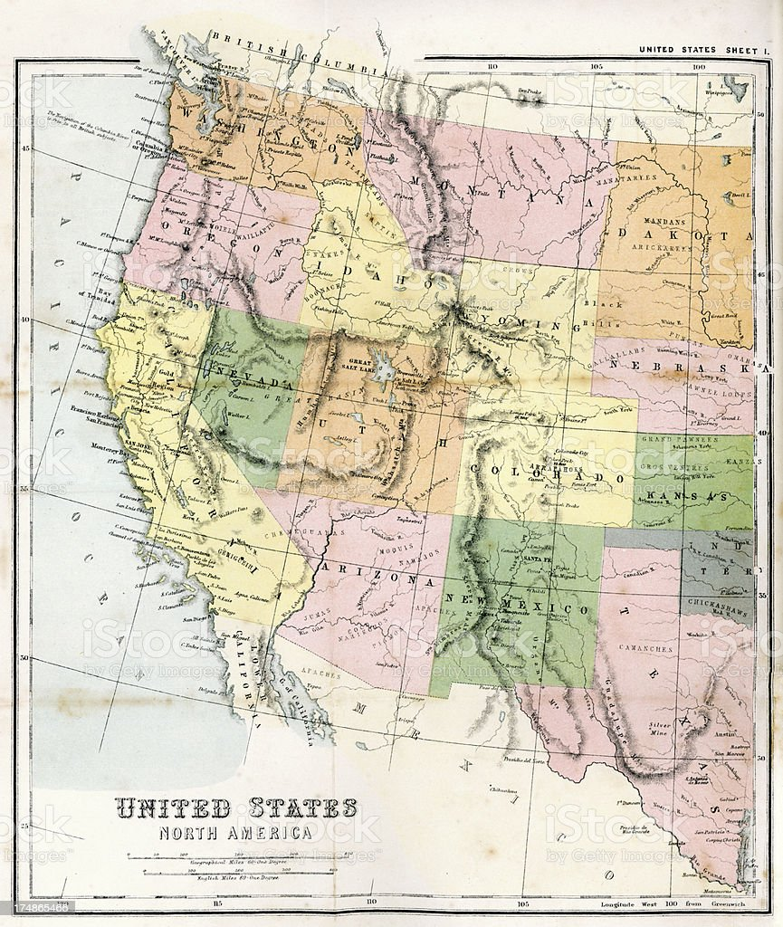 Antique Map of Western USA vector art illustration
