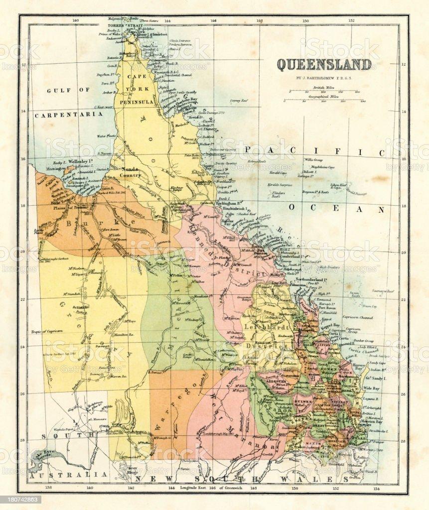 Antique map - Queensland Australia vector art illustration