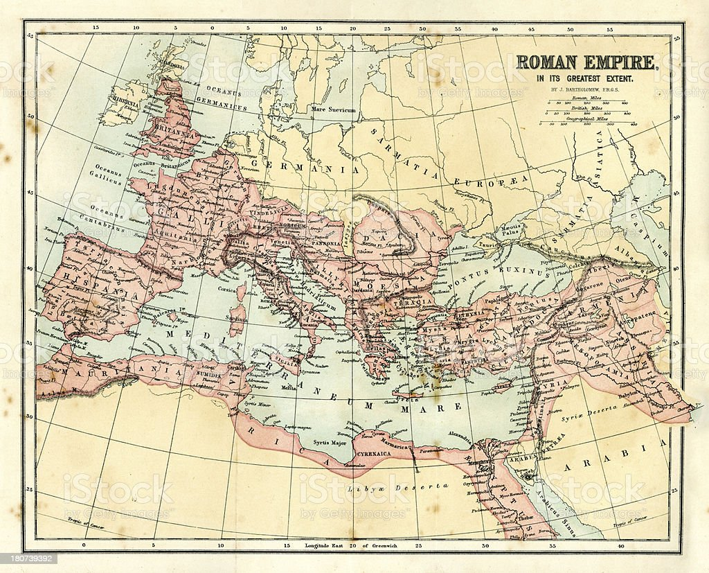 Antique map - Roman Empire vector art illustration