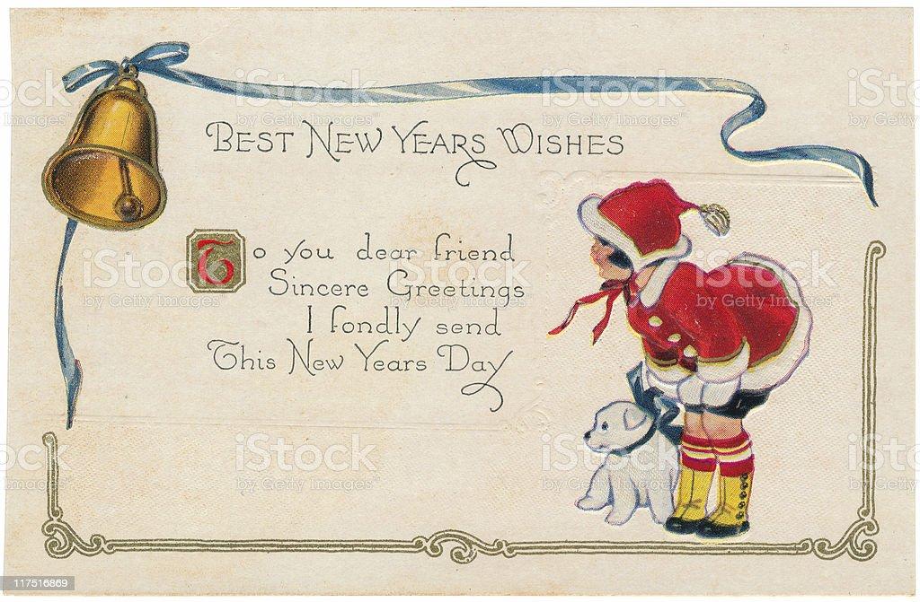Antique New Year Postcard vector art illustration