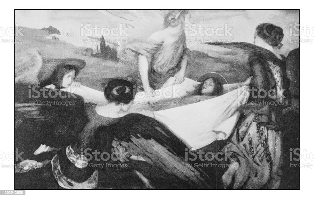 Antique photo of paintings: Burial of St Catherine of Alexandria vector art illustration