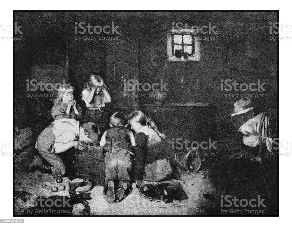 Antique photo of paintings: Children Indoors vector art illustration