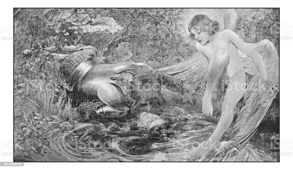 Antique photo of paintings: Couple and angel vector art illustration