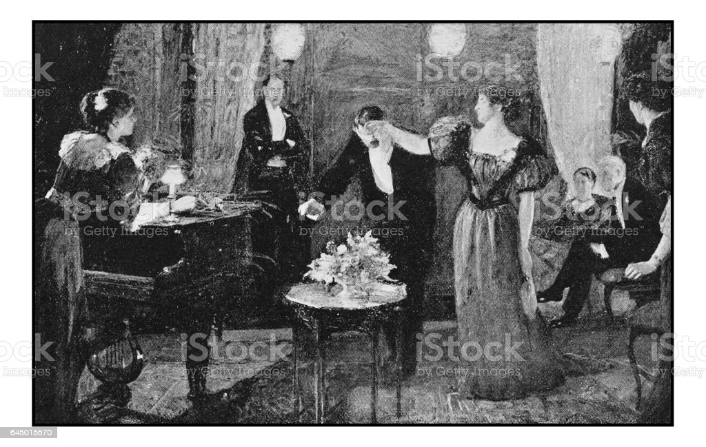 Antique photo of paintings: Elegant party vector art illustration