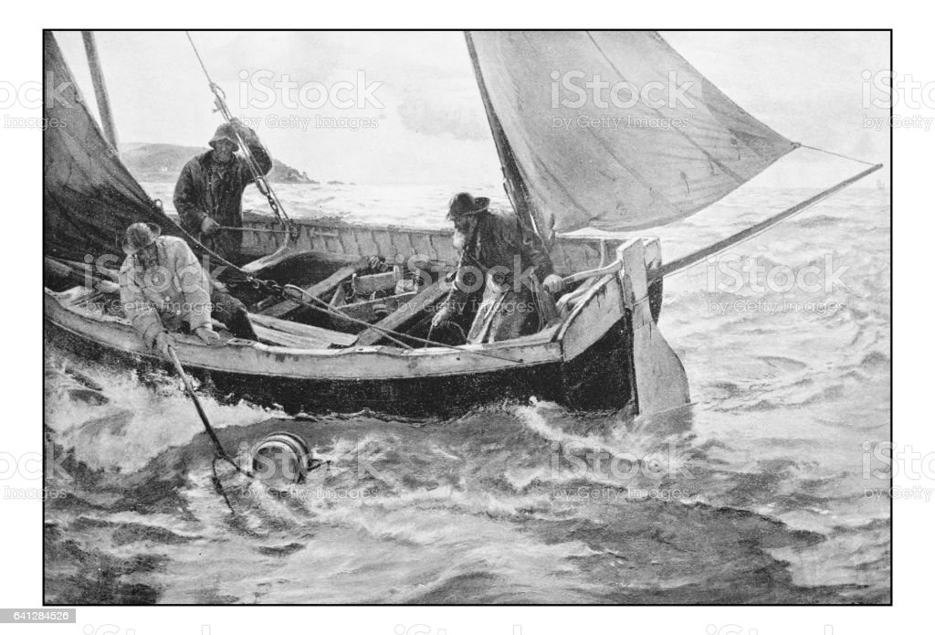 Antique photo of paintings: Fishermen vector art illustration