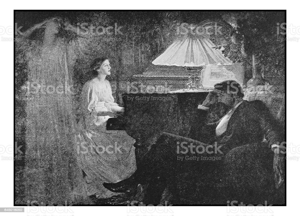 Antique photo of paintings: Ghost vector art illustration