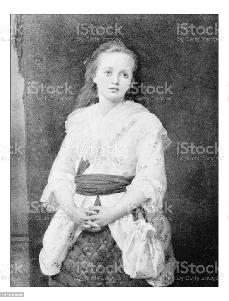 Antique photo of paintings: girl portrait vector art illustration