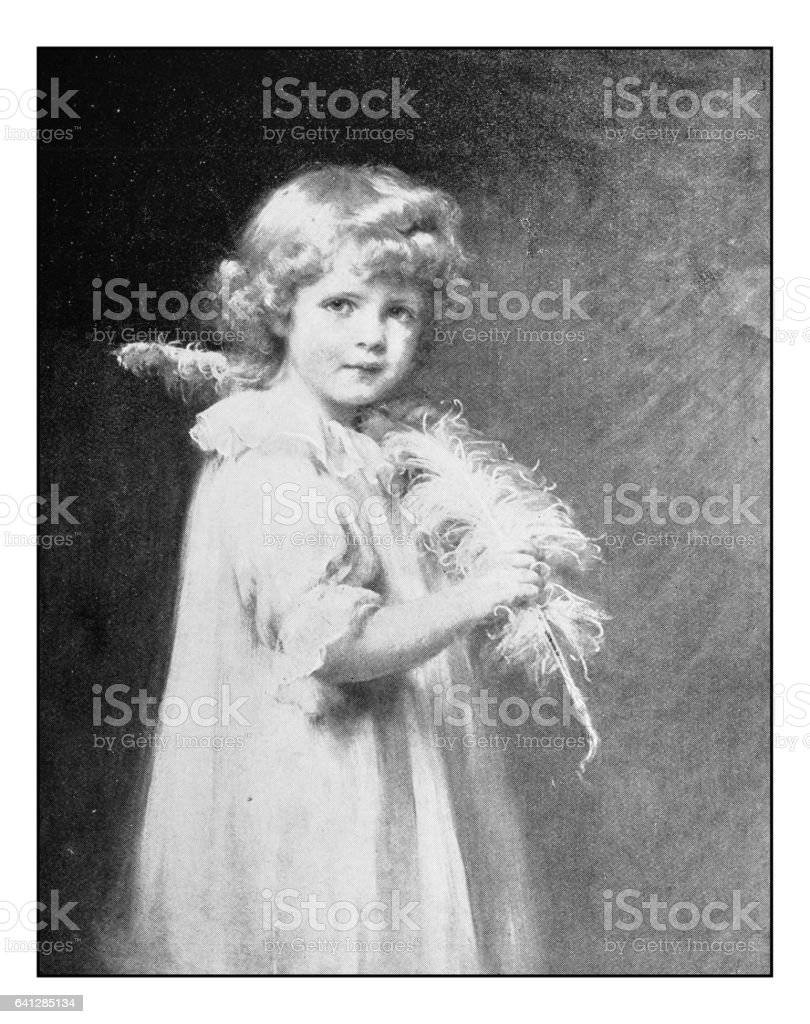 Antique photo of paintings: Girl with feather vector art illustration