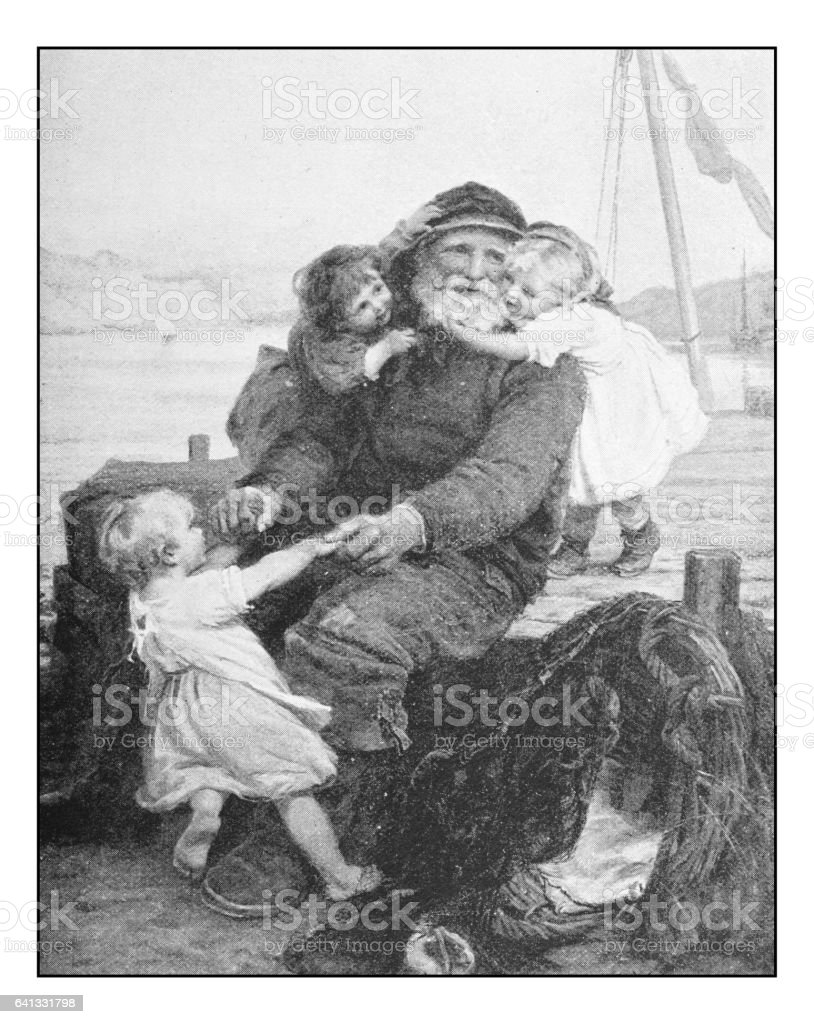 Antique photo of paintings: Grandpa fisherman vector art illustration