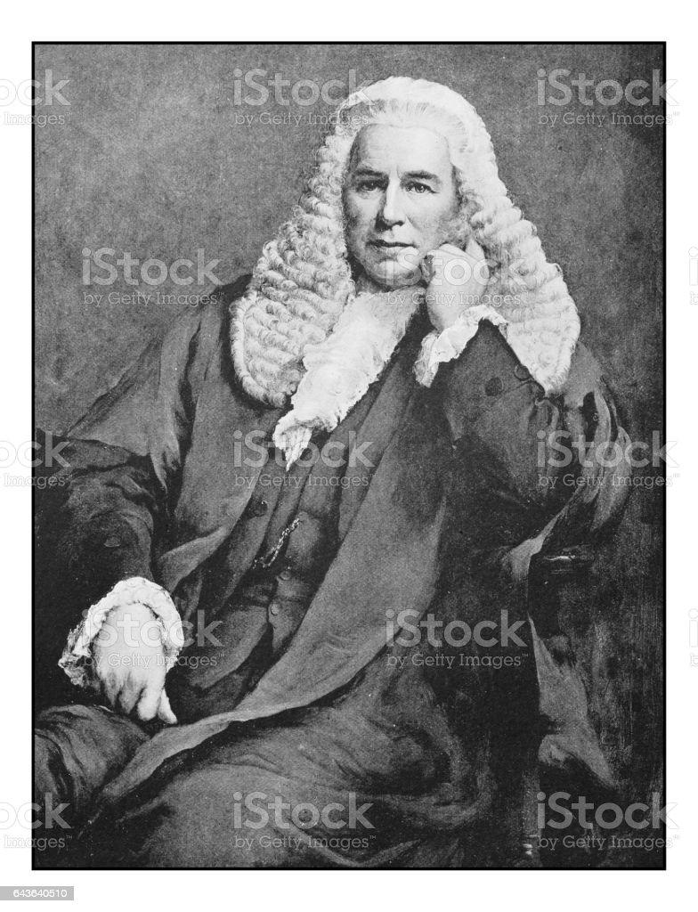 Antique photo of paintings: Judge portrait vector art illustration
