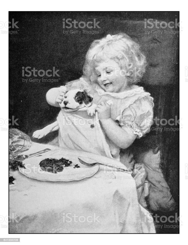 Antique photo of paintings: Little girl portrait vector art illustration