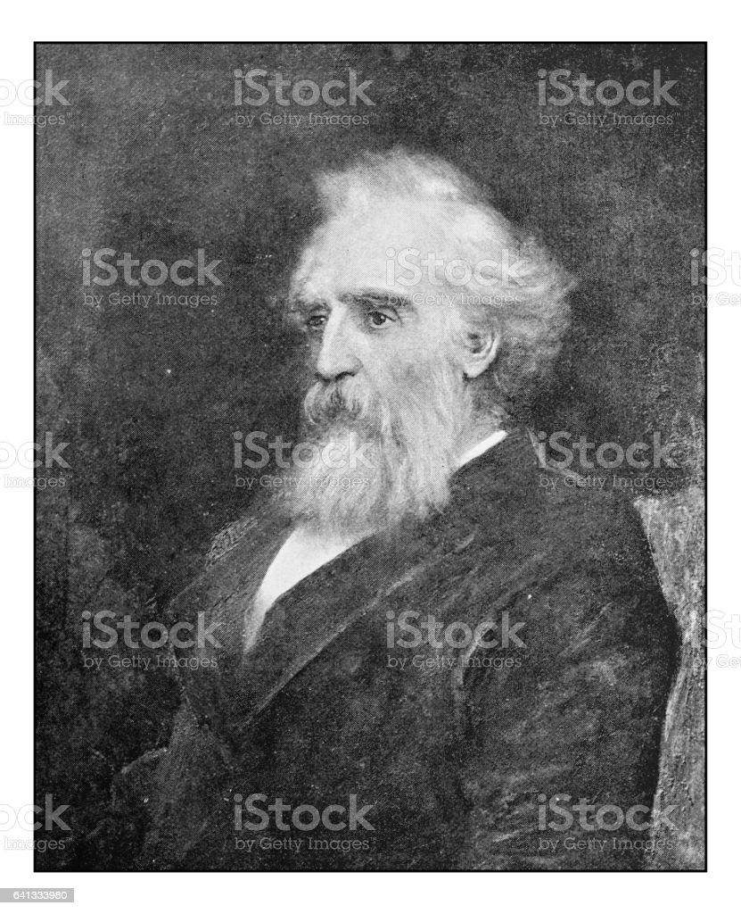 Antique photo of paintings: Man portrait vector art illustration