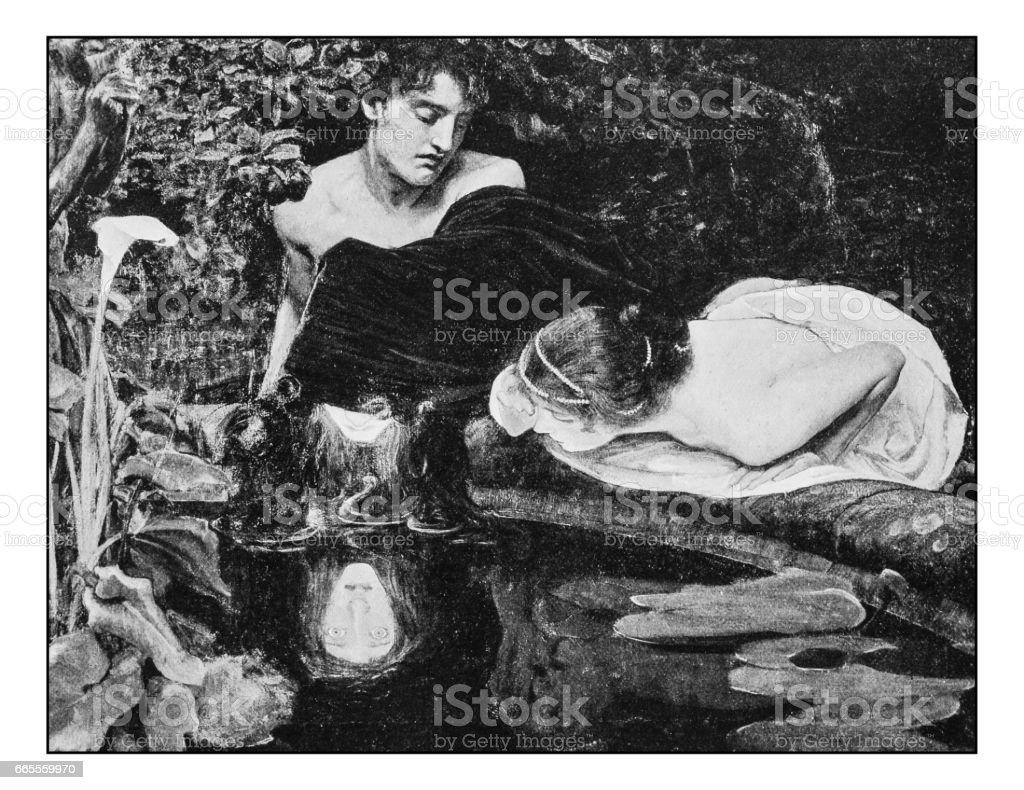 Antique photo of paintings: Medusa Head vector art illustration