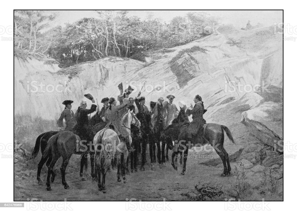 Antique photo of paintings: Men on horses vector art illustration