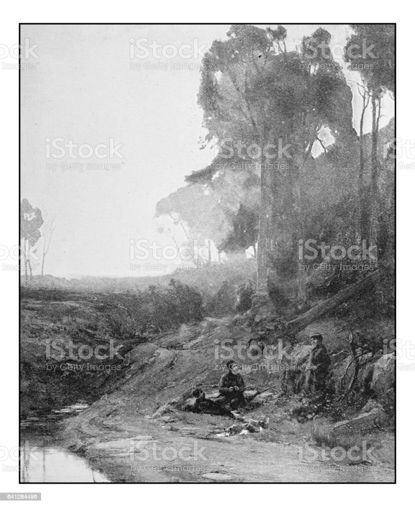 Antique photo of paintings: Poachers vector art illustration