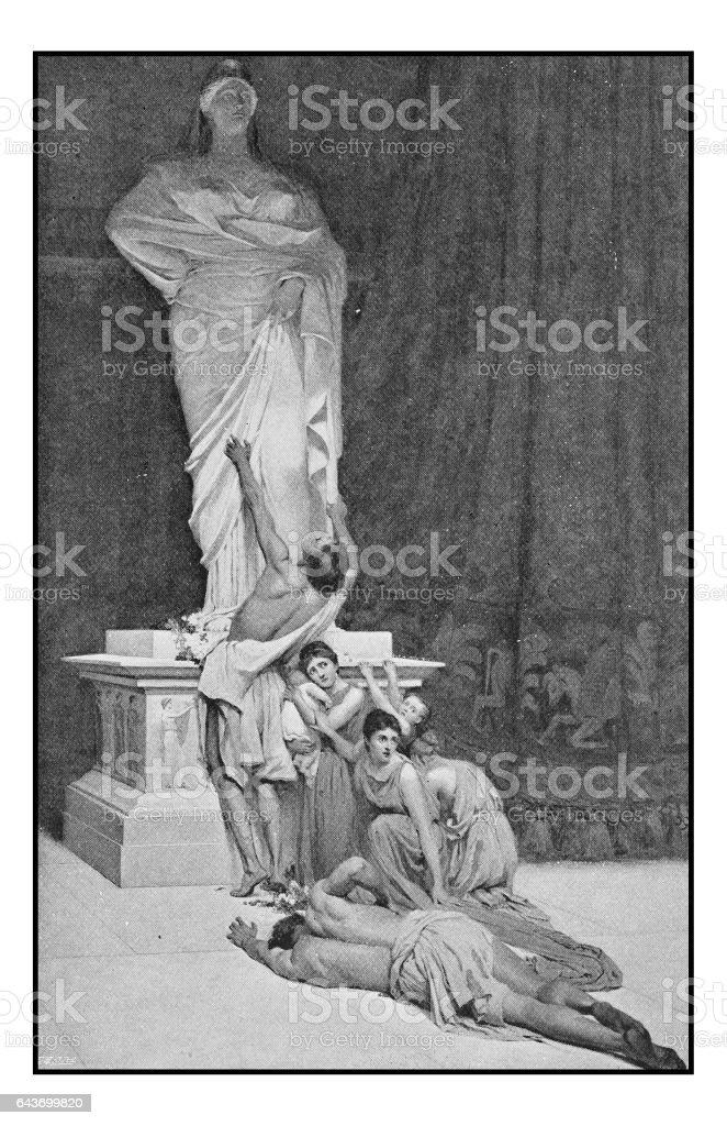 Antique photo of paintings: Sanctuary vector art illustration
