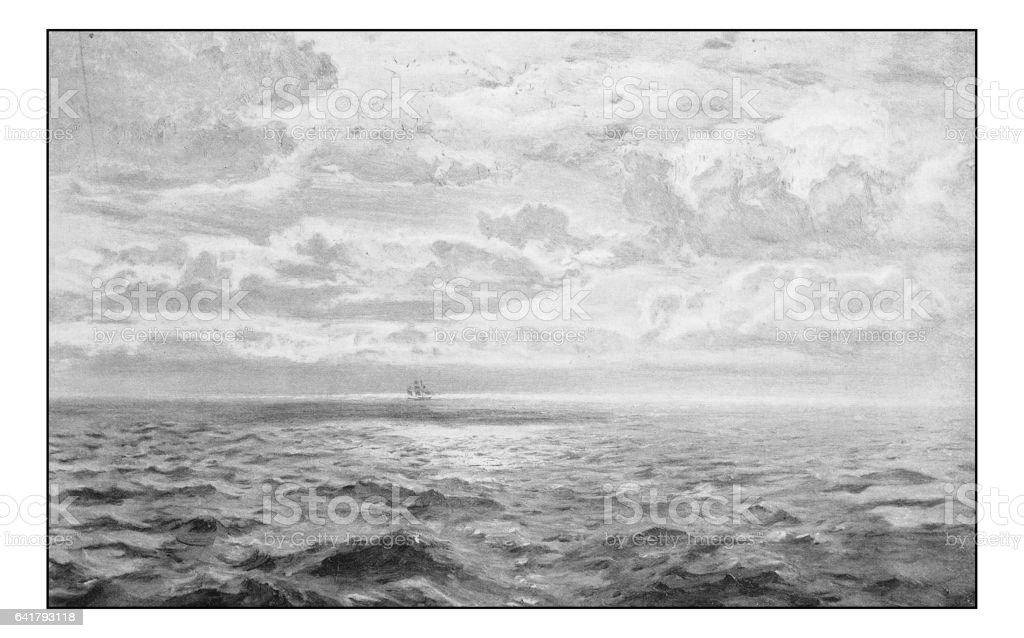 Antique photo of paintings: Seascape vector art illustration