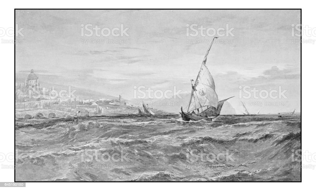 Antique photo of paintings: Seascape in Genoa vector art illustration