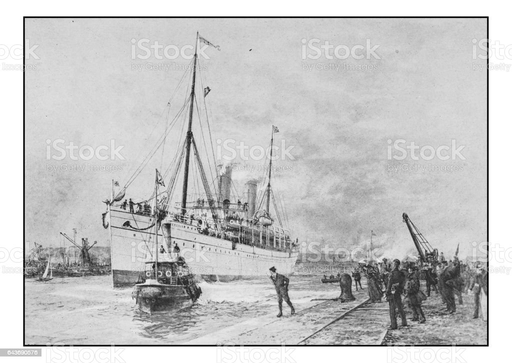 Antique photo of paintings: Ship vector art illustration
