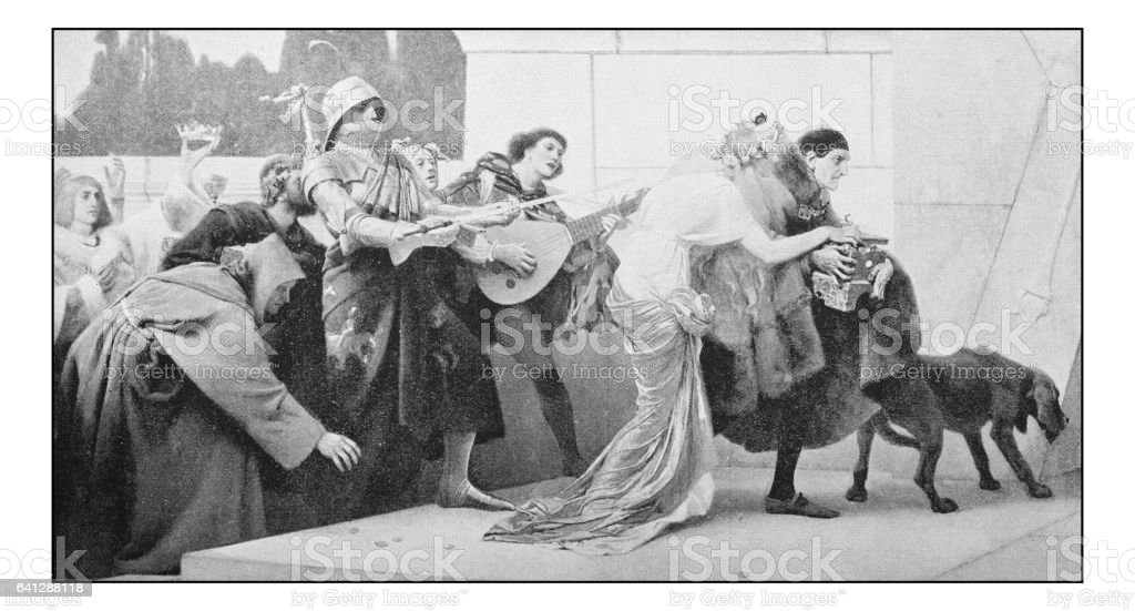 Antique photo of paintings: Theatre scene greed vector art illustration