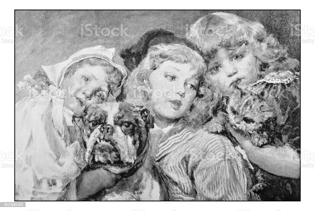 Antique photo of paintings: Three girls with pets portrait vector art illustration