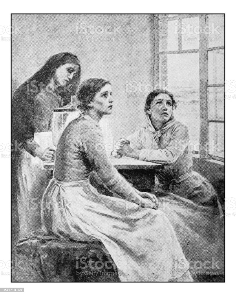 Antique photo of paintings: Three women vector art illustration